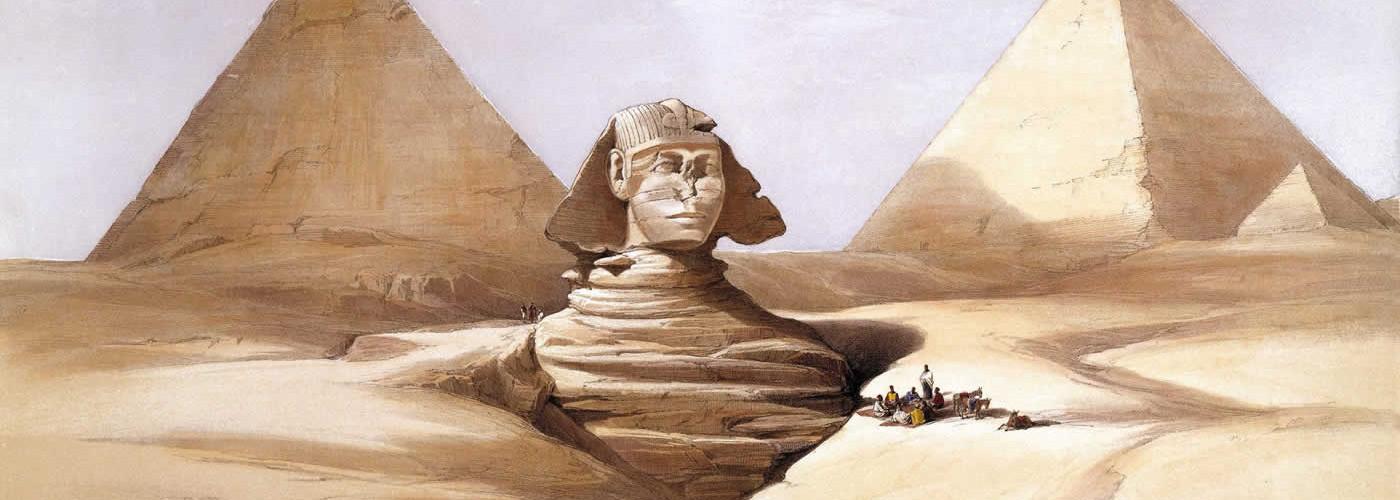 The Great Sphinx and Pyramids of Gizeh (1839) by David Roberts, RA